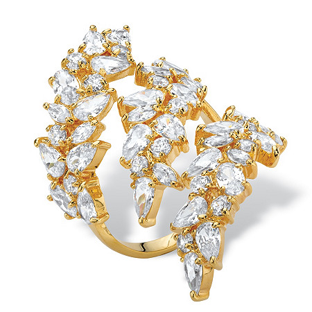 Pear and Oval-Cut Cubic Zirconia Wraparound Cocktail Ring 6.84 TCW 14k Gold-Plated at PalmBeach Jewelry