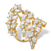 Pear and Oval-Cut Cubic Zirconia Wraparound Cocktail Ring 6.84 TCW 14k Gold-Plated