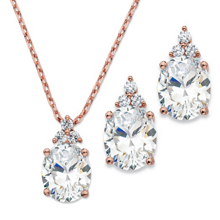 Oval-Cut Cubic Zirconia 2-Piece Earrings and Pendant Necklace Set 13.22 TCW in Rose Gold Tone 18