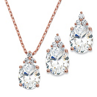 Oval-Cut Cubic Zirconia 2-Piece Earrings And Pendant Necklace Set