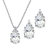 Oval-Cut Cubic Zirconia 2-Piece Earrings And Pendant Necklace Set ONLY $26.95