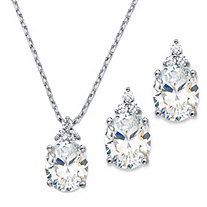 "Oval-Cut Cubic Zirconia 2-Piece Earrings and Pendant Necklace Set 13.22 TCW Platinum-Plated 18""-20"""