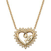 "Pave Cubic Zirconia Open Heart ""MOM"" Pendant Necklace .20 TCW in 14k Gold over Sterling Silver 18""-20"""