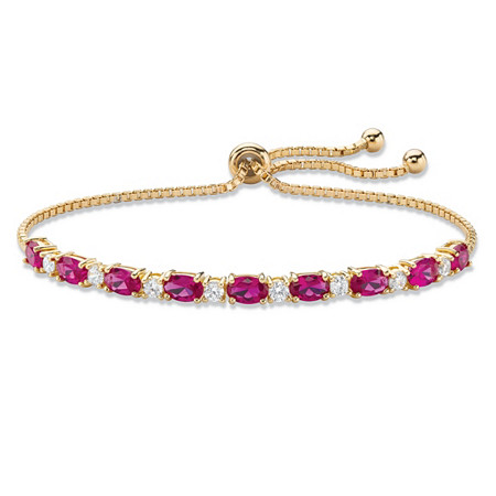 "Oval-Cut Simulated Red Ruby and White Cubic Zirconia Adjustable Bolo Bracelet 6.20 TCW 14k Gold-Plated 10"" at PalmBeach Jewelry"
