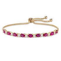Oval-Cut Simulated Red Ruby and White Cubic Zirconia Adjustable Bolo Bracelet 6.20 TCW 14k Gold-Plated 10""