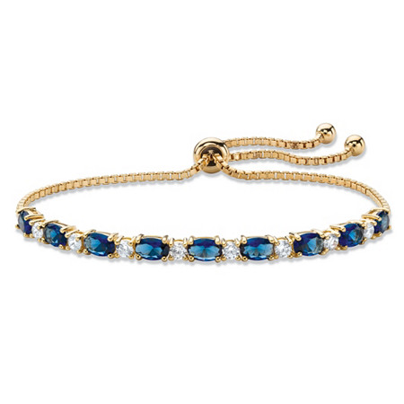 "Simulated Blue Sapphire and Cubic Zirconia Adjustable Drawstring Bolo Bracelet 6.20 TCW 14k Gold-Plated 10"" at PalmBeach Jewelry"