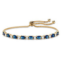 Blue and White Oval-Cut Crystal Adjustable Drawstring Slider Bracelet .80 TCW 14k Gold-Plated 10""