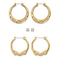 Cubic Zirconia 3-Pair Set of Round Stud and Textured Hoop Earrings 4 TCW in Gold Tone 2""
