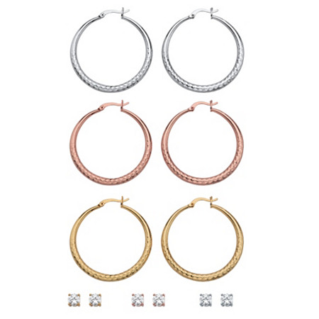 "Cubic Zirconia 6-Pair Set of Round Stud and Hammered Hoop Earrings 5.88 TCW in Tri-Tone 2"" at PalmBeach Jewelry"