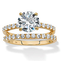 SETA JEWELRY Round Cubic Zirconia 2-Piece Wedding Ring Set 2.58 TCW in Solid 10k Yellow Gold