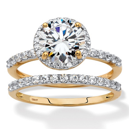 Round Cubic Zirconia 2-Piece Halo Wedding Ring Set 2.52 TCW in Solid 10k Yellow Gold at PalmBeach Jewelry