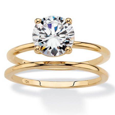 Round Cubic Zirconia 2-Piece Solitaire Wedding Ring Set 2 TCW in Solid 10k Yellow Gold at PalmBeach Jewelry