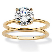 SETA JEWELRY Round Cubic Zirconia 2-Piece Solitaire Wedding Ring Set 2 TCW in Solid 10k Yellow Gold