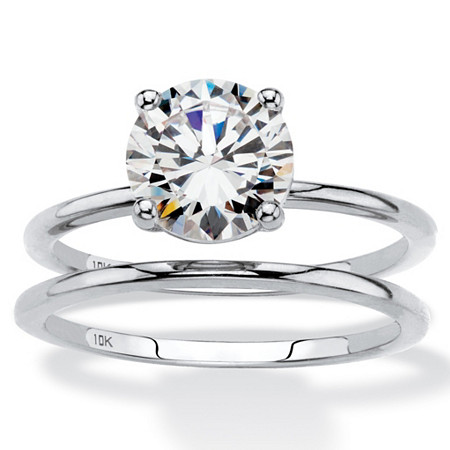 Round Cubic Zirconia 2-Piece Solitaire Wedding Ring Set 2 TCW in Solid 10k White Gold at PalmBeach Jewelry