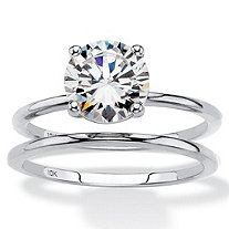 SETA JEWELRY Round Cubic Zirconia 2-Piece Solitaire Wedding Ring Set 2 TCW in Solid 10k White Gold