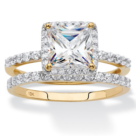 Princess-Cut Cubic Zirconia 2-Piece Wedding Ring Set 2.15 TCW in Solid 10k Yellow Gold at PalmBeach Jewelry