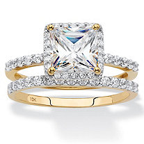 SETA JEWELRY Princess-Cut Cubic Zirconia 2-Piece Wedding Ring Set 2.15 TCW in Solid 10k Yellow Gold