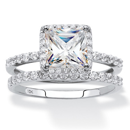 Princess-Cut Cubic Zirconia 2-Piece Wedding Ring Set 2.15 TCW in Solid 10k White Gold at PalmBeach Jewelry