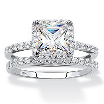 SETA JEWELRY Princess-Cut Cubic Zirconia 2-Piece Wedding Ring Set 2.15 TCW in Solid 10k White Gold