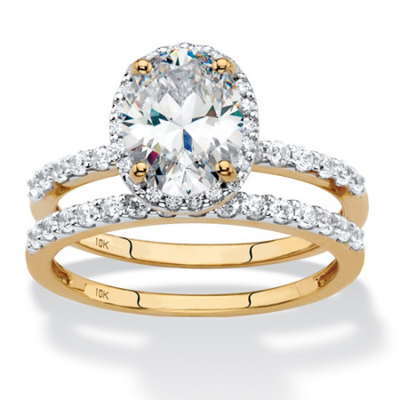 Oval-Cut Cubic Zirconia 2-Piece Halo Wedding Ring Set 2.40 TCW in Solid 10k Yellow Gold at PalmBeach Jewelry