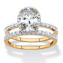 Oval-Cut Cubic Zirconia 2-Piece Halo Wedding Ring Set 2.40 TCW in Solid 10k Yellow Gold