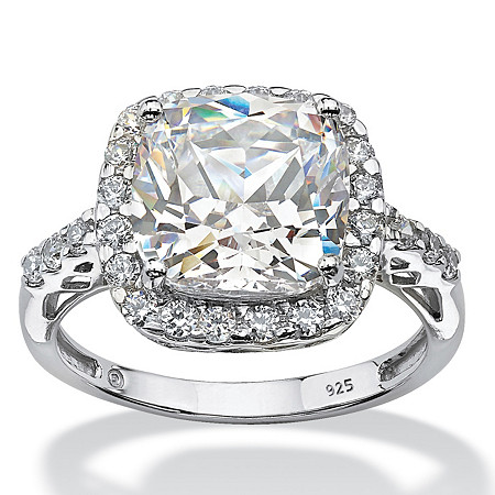 Cushion-Cut Created White Sapphire Halo Engagement Ring 5.78 TCW in Platinum over Sterling Silver at PalmBeach Jewelry