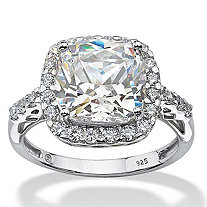 SETA JEWELRY Cushion-Cut Created White Sapphire Halo Engagement Ring 5.78 TCW in Platinum over Sterling Silver