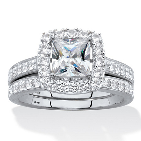 Princess-Cut Created White Sapphire 2-Piece Halo Wedding Ring Set 2.60 TCW in Platinum over Sterling Silver at PalmBeach Jewelry