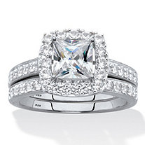 SETA JEWELRY Princess-Cut Created White Sapphire 2-Piece Halo Wedding Ring Set 2.60 TCW in Platinum over Sterling Silver