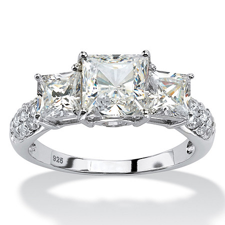 Princess-Cut Created White Sapphire 3-Stone Ring 4.47 TCW in Platinum over Sterling Silver at PalmBeach Jewelry