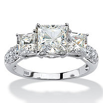 SETA JEWELRY Princess-Cut Created White Sapphire 3-Stone Ring 4.47 TCW in Platinum over Sterling Silver