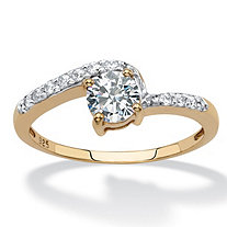 Round Created White Sapphire Bypass Promise Ring .75 TCW in 18k Gold over Sterling Silver