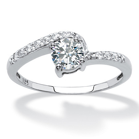 Round Created White Sapphire Bypass Promise Ring .75 TCW in Platinum over Sterling Silver at PalmBeach Jewelry