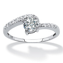 SETA JEWELRY Round Created White Sapphire Bypass Promise Ring .75 TCW in Platinum over Sterling Silver