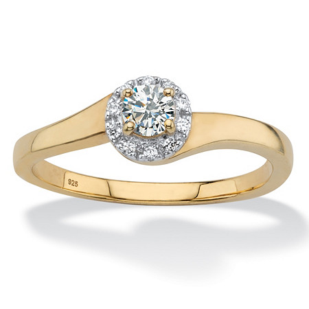 Round Created White Sapphire Halo Promise Ring .54 TCW in 18k Gold over Sterling Silver at PalmBeach Jewelry