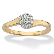 Round Created White Sapphire Halo Promise Ring .54 TCW in 18k Gold over Sterling Silver