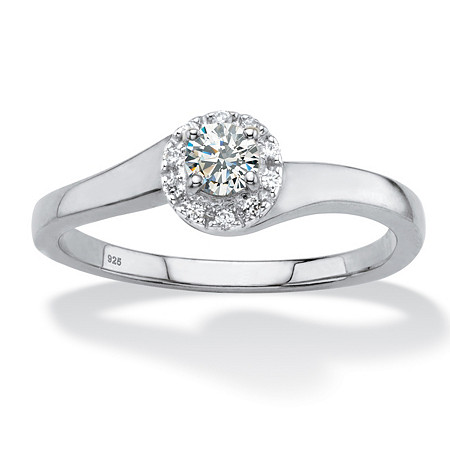 Round Created White Sapphire Halo Promise Ring .54 TCW in Platinum over Sterling Silver at PalmBeach Jewelry