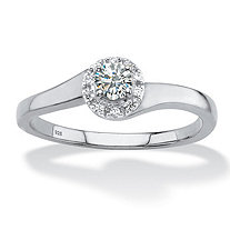 Round Created White Sapphire Halo Promise Ring .54 TCW in Platinum over Sterling Silver