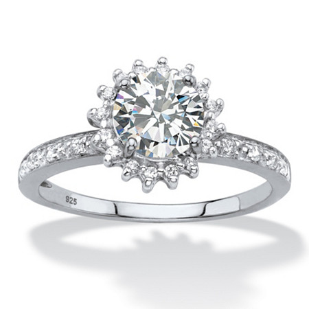 Round Created White Sapphire and Diamond Accent Halo Engagement Ring 1.81 TCW in Platinum over Sterling Silver at PalmBeach Jewelry
