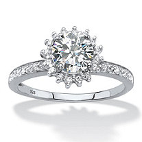 Round Created White Sapphire and Diamond Accent Halo Engagement Ring 1.81 TCW in Platinum over Sterling Silver