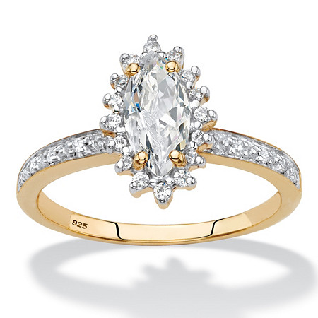 Marquise-Cut Created White Sapphire and Diamond Accent Halo Engagement Ring 1.55 TCW in 18k Gold over Sterling Silver at PalmBeach Jewelry