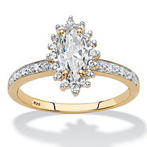 Marquise-Cut Created White Sapphire and Diamond Accent Halo Engagement Ring 1.55 TCW in 18k Gold over Sterling Silver