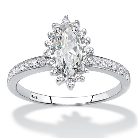 Marquise-Cut Created White Sapphire and Diamond Accent Halo Engagement Ring 1.55 TCW in Platinum over Sterling Silver at PalmBeach Jewelry