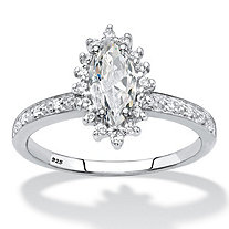 Marquise-Cut Created White Sapphire and Diamond Accent Halo Engagement Ring 1.55 TCW in Platinum over Sterling Silver