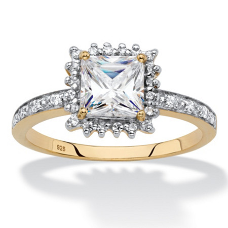 Princess-Cut Created White Sapphire and Diamond Accent Halo Engagement Ring 1.41 TCW in 18k Gold over Sterling Silver at PalmBeach Jewelry