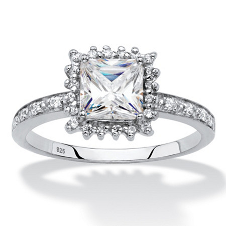 Princess-Cut Created White Sapphire and Diamond Accent Halo Engagement Ring 1.41 TCW in Platinum over Sterling Silver at PalmBeach Jewelry