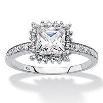 Princess-Cut Created White Sapphire and Diamond Accent Halo Engagement Ring 1.41 TCW in Platinum over Sterling Silver
