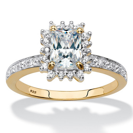 Emerald-Cut Created White Sapphire and Diamond Accent Halo Engagement Ring 1.55 TCW in 18k Gold over Sterling Silver at PalmBeach Jewelry
