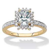 White Sapphire And Diamond Accent Halo Engagement Ring 1.55 TCW In 18k Gold Over Sterling Silver ONLY $34.99
