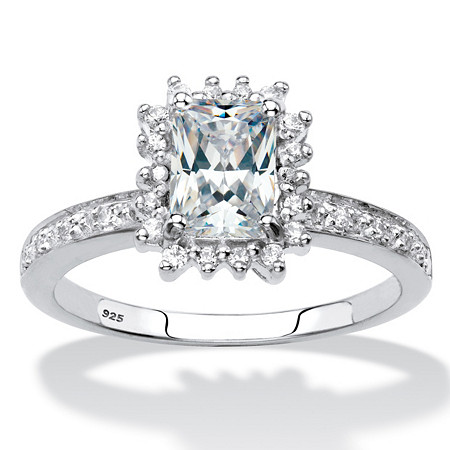 Emerald-Cut Created White Sapphire and Diamond Accent Halo Engagement Ring 1.60 TCW in Platinum over Sterling Silver at PalmBeach Jewelry